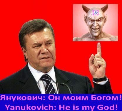 Janukowycz: Szatan moim panem - karykatura Rolanda von Bagratuni - do swobodnego publikowania